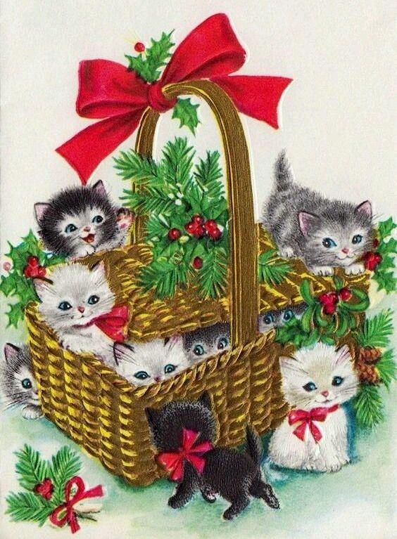 Vintage Christmas Kittens