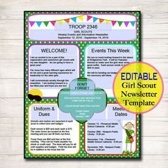 Girl Scouts Newsletter Template, INSTANT + EDITABLE, Troop Newsletter, Girl Scout Organization Form, Brownies, Daisies, Girl Scout Printable