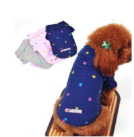 Одежда для собак мелких свежий вышитые рубашки поло тедди пудель щенок одежда летней одежды