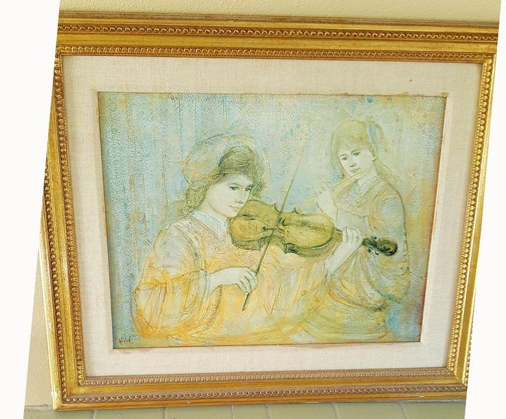 Edna Hibel DUET Violin & Flute Players Limited #82/1000 Signed Framed Lithograph