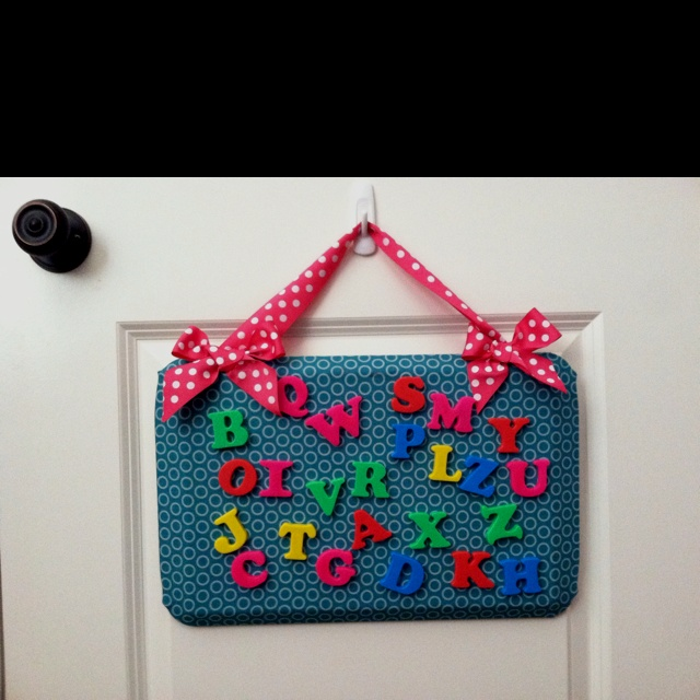 Cookie sheet magnet board for kids.