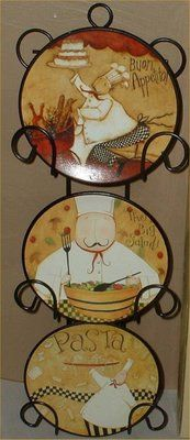 Fat Chef Wall Plates Decorative Bistro Decor. This is what I want to do my kitchen in!:)@Heather Bartley Ossewaarde