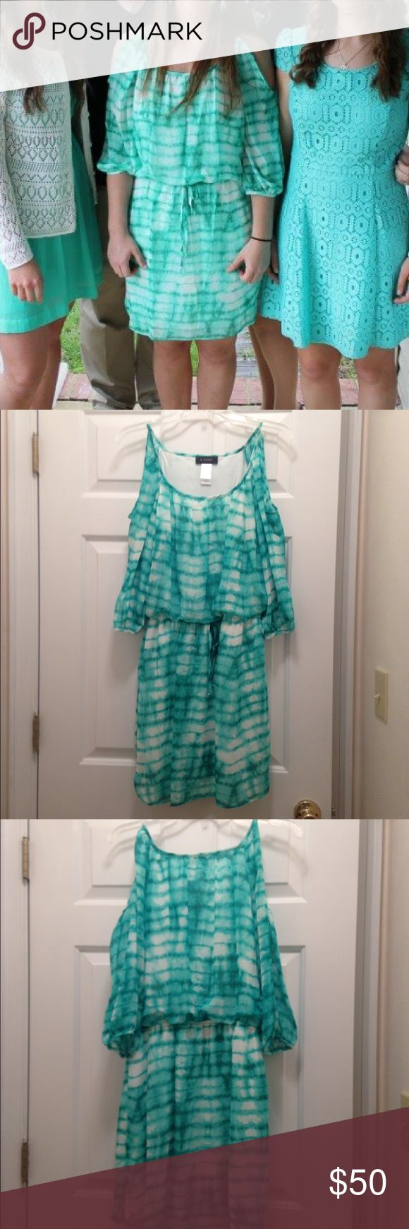 Blue Green Short Sundress Blue Green Tye Dye. Size 6. Short Sundress. Open shoulders. Dresses Midi