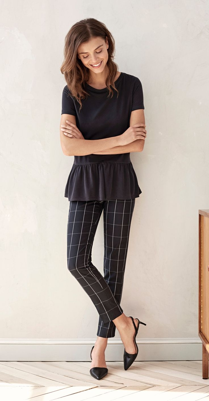 Subtle feminine touches will elevate your everyday look. Pair our peplum detailed short sleeve with slim ankle pants for a modern ladylike feel  | Banana Republic