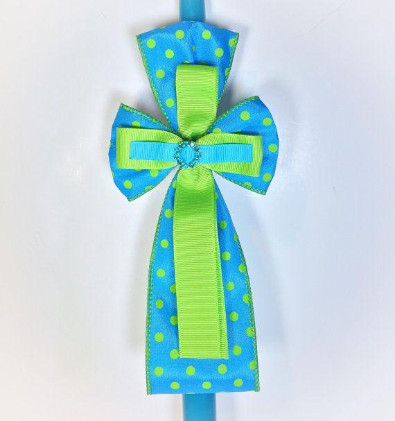 Teal Polka Dot - Greek Easter Candle (Lambatha)