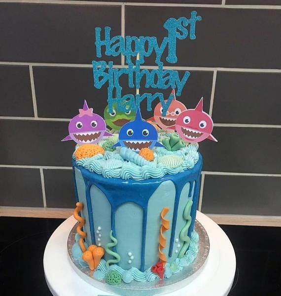 Baby Shark Cake Toppers With Images Shark Birthday Cakes