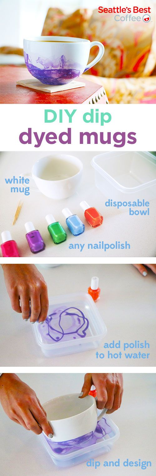 Make your mugs more festive when you dip dye them to perfection. Start with warm water and drip nail polish into the bowl. Dip mug into bowl. If you get any nail polish inside then remove with nailpolish remover before hand washing.