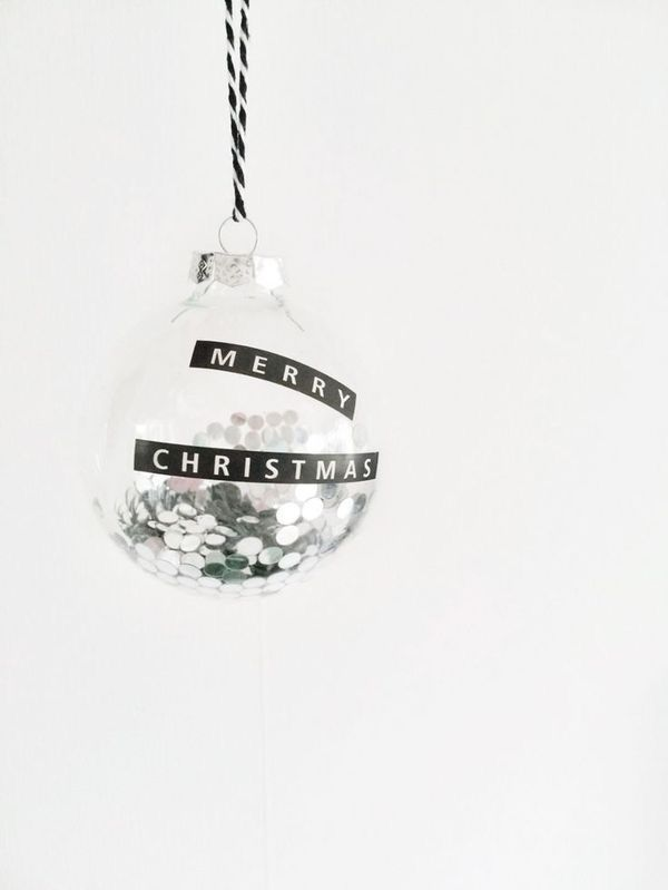 Clear Christmas Bauble with DYMO
