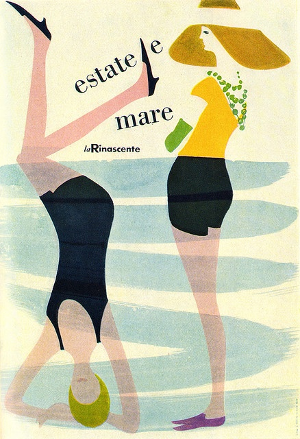 "Lora Lamm Illustration 2 ""Summer and Sea"". Poster for summertime sales at La Rinascente department store, Milan. From Graphis Annual 60/61."
