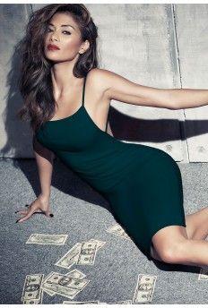 Nicole X Low Back Strappy Midi Dress Forest Green
