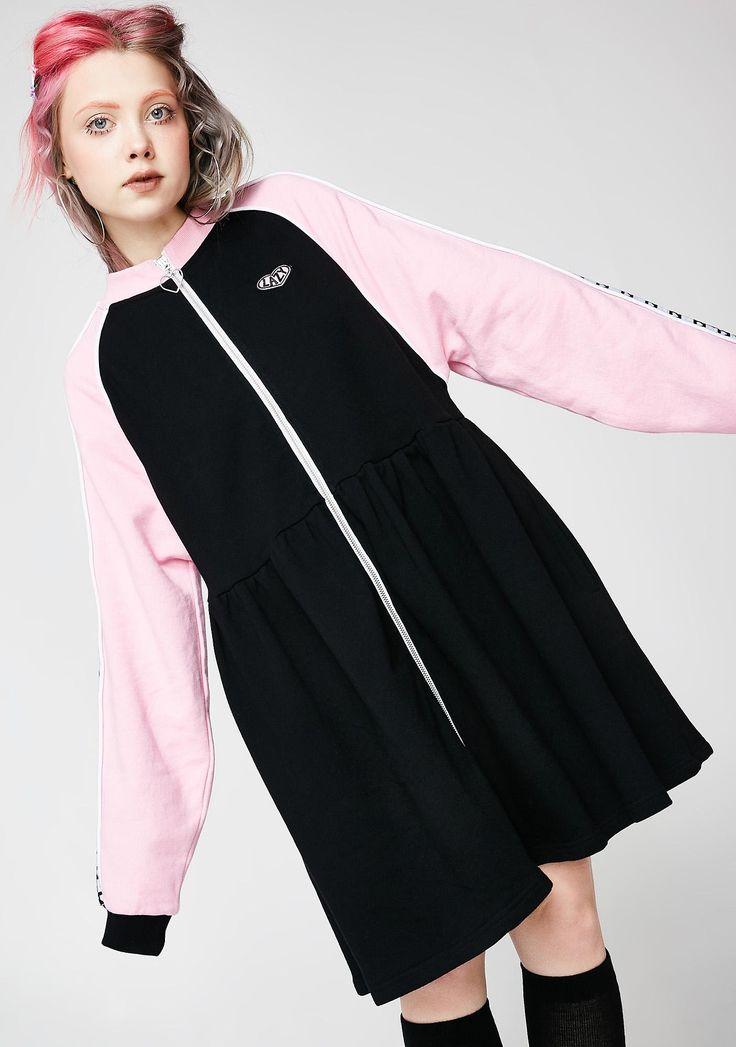 Lazy Oaf Sports Club Zip Sweater Dress | Dolls Kill