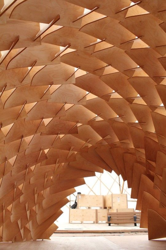 The Dragon Skin Pavilion - post formable plywood architectural installation