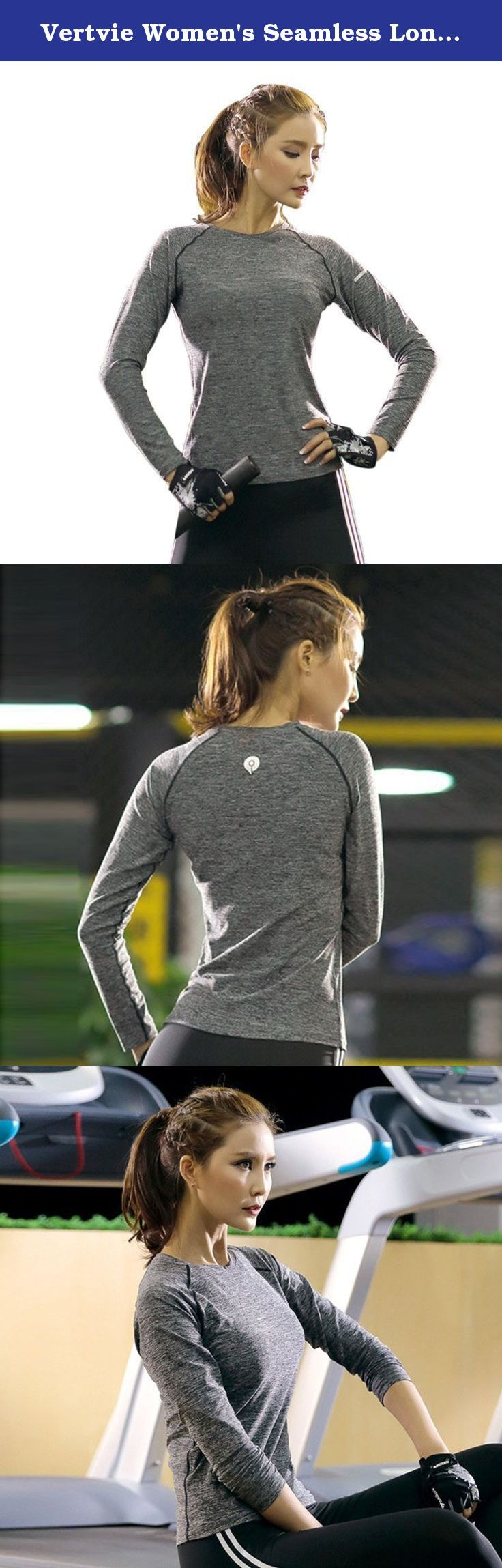 Vertvie Women's Seamless Long Sleeve Quick Dry Yoga Fitness Sports T-shirt Tops. Special mixed color, make you look special.