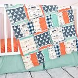 Custom tribal crib bedding in orange, green, & navy blue with chevron, solid, and arrow fabric. Arrow Baby Boy Nursery Crib Set Sizes and Pricing Available in Drop Down Menu Care: - Bumpers: wipe clea
