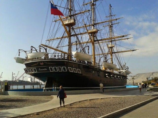 Réplica de la Esmeralda, hundida el 21 de mayo de 1879, Iquique, Chile.