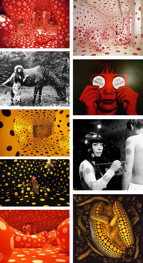 Yayoi Kusama- Motif Pois , formes arrondies , boules et couleurs néo pop.... i dont know, but i like it, therefore its art