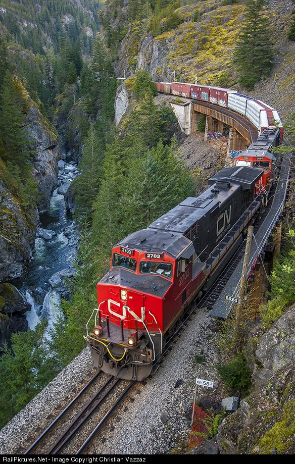 Twin GE C44-9Ws of the Canadian National Railway at the breathtaking Cheakamus Canyon, Squamish, British Columbia, Canada.