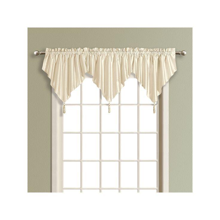 United Curtain Co. Anna Ascot Valance - 24'' x 42'', Beig/Green (Beig/Khaki)
