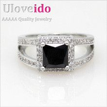 Big Black Unisex Simulated Diamond Ring for Men/Women Party Gifts Fashion Trendy 2016 Crystal High Quality Jewelry Hot Sale Y017