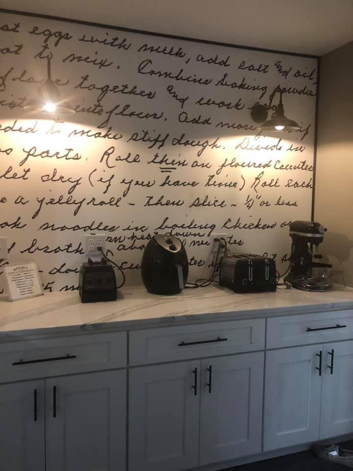 Kitchen Backsplash Of A Handwritten Family Recipe