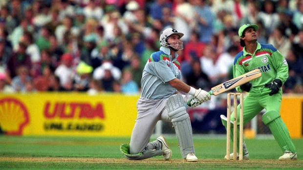 Martin Crowe bats during the cricket World Cup match between New Zealand and Pakistan, during the Cricket World Cup 1992.
