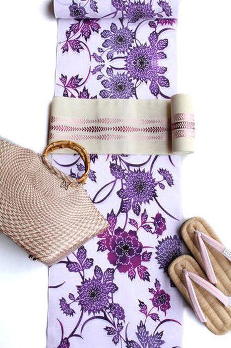 【優華壇】浴衣ゆかた綿絽注染「菊と牡丹」紫色レディース浴衣未仕立て反物女性大人日本製【送料無料】井登美