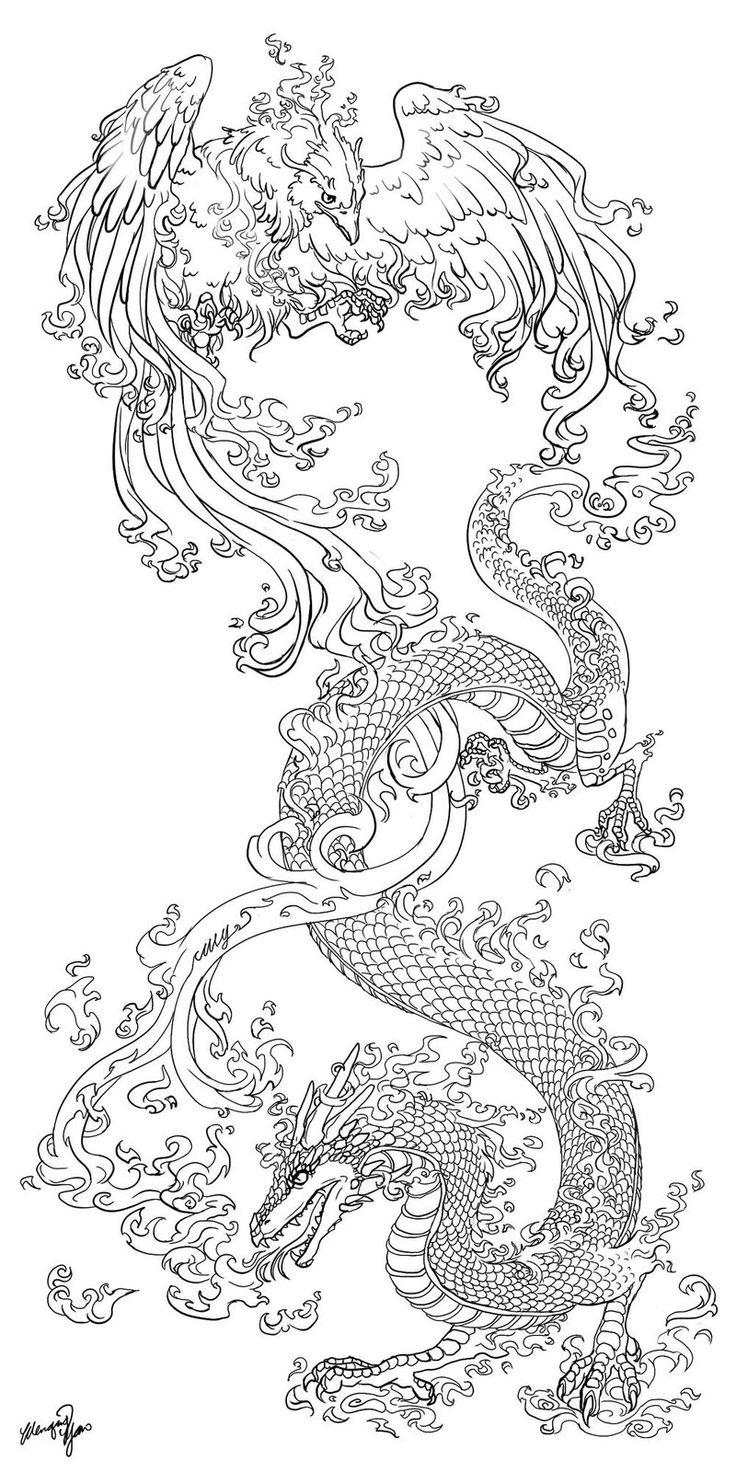 DragonPhoenix_tattooCommission_by_yuumei.jpg 800×1,600 pixels