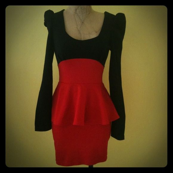 Black & Red Peplum Dress Stretch fabric. Only worn once and received many compliments. Dresses