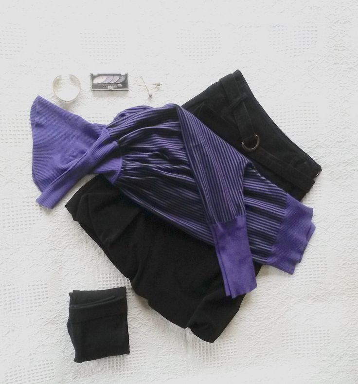 #Black/Purple Jumper – with stripes, bat wings, and high neck (owned);#Black Velvet Skirt (United Colours of Benetton); #Black Thermal Tights (Woolworths);  Make-up: #Covergirl 710 Va-va-violets Eyeshadow; #Long Silver Earrings.
