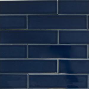 Ceramic subway tile for kitchen backsplash or bathroom tile in blue color Caspian Blue