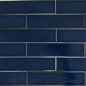 Ceramic subway tile for kitchen backsplash or bathroom tile in blue color Caspian Blue
