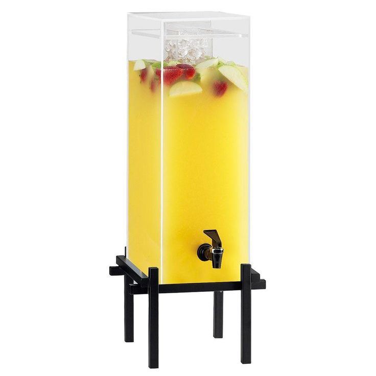 """Cal Mil 1132-5-13 Black One By One 5 Gallon Beverage Dispenser with Ice Core - 11 3/4"""" x 12"""" x 29"""""""