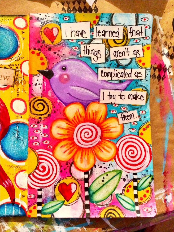 Whimsy birdie art journal page Www.facebook.com/myjournallingjourney