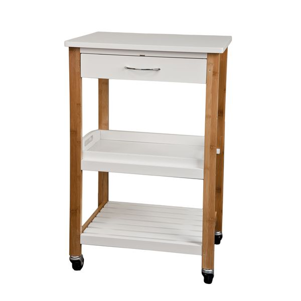 Bamboo Kitchen Utility Cart With Removable Tray And Wheels Homex
