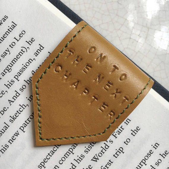 Magnetic Bookmark Leather Bookmark Yellow Ochre with Pea