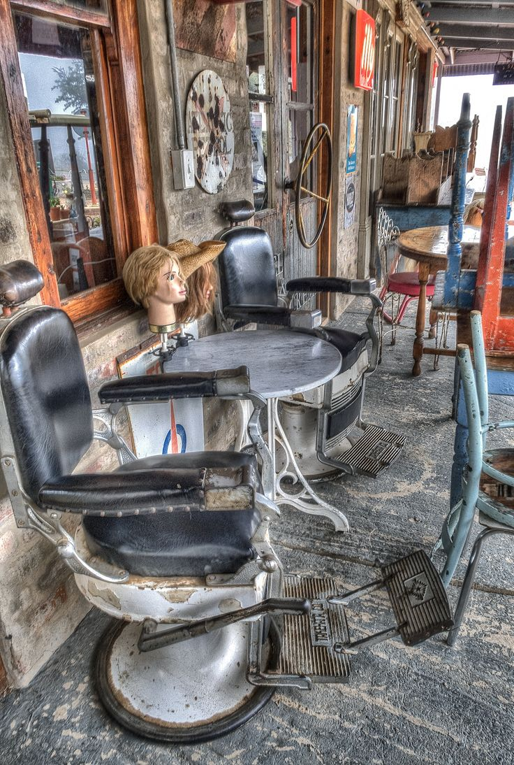 The Chair Old barber's chair and other random objects cluttering the side verandah of Diesel & Crème in Barrydale