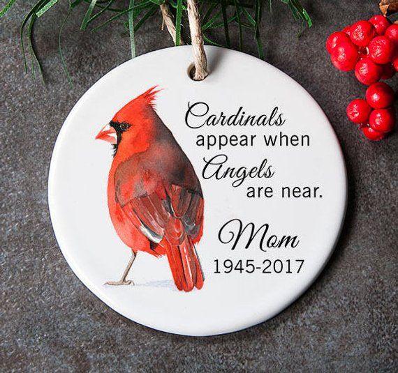 Red Cardinal Bird Christmas Ornament Gift Tag   Hand Made USA