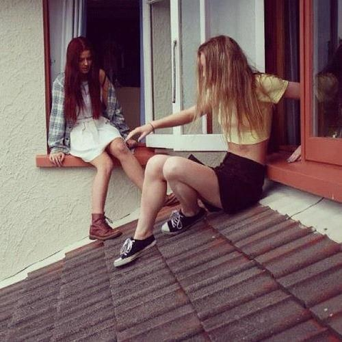 Perfect casual 90s grunge. This was my friends & I in the 90s. Always hanging out on someone's roof.