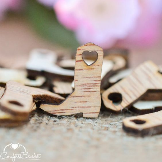 "100 Cowboy Boot Heart Wood Confetti  3/4"" - Country Wedding Decor - Table Confetti & Charms - Wedding Invitations"