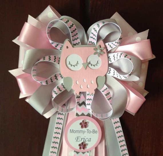 Gray and Pink Owl MommyToBe Baby Shower Corsage by designsbyemilys, $16.99