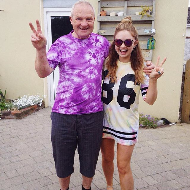 Dad and @amziepie in my tie-dye tees ✌🏻️😭 #festivalhuns