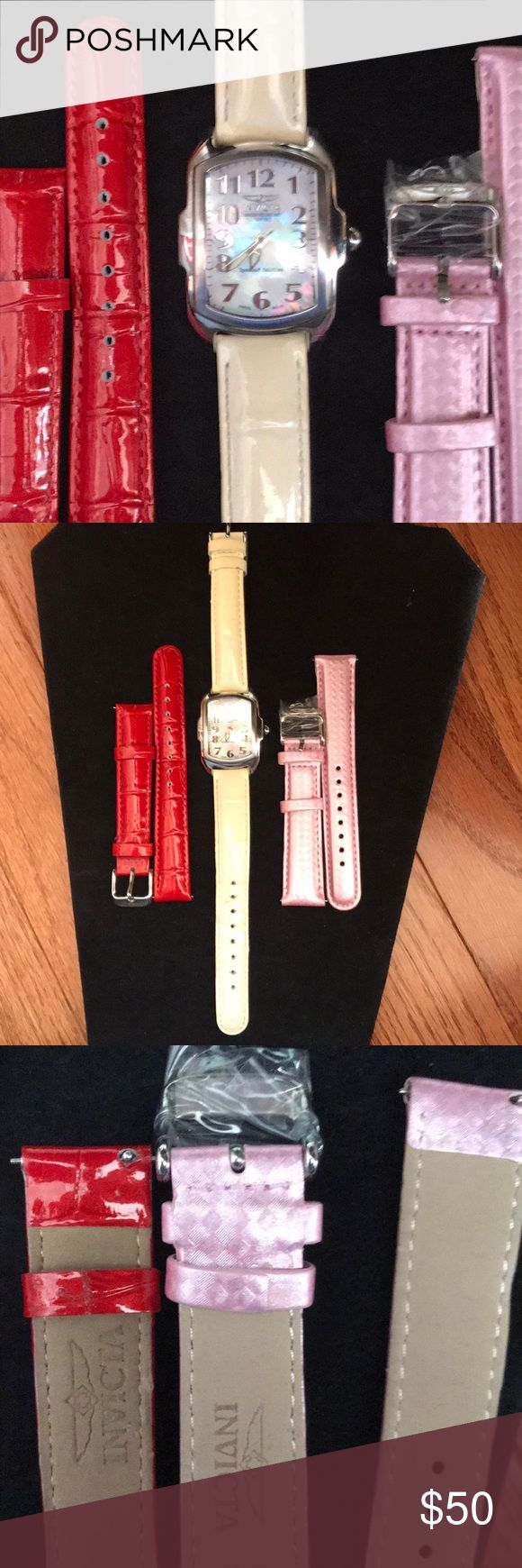 Pearl face Invicta watch with 3 bands *NEEDS BATTERY* This pearl faced Invicta watch needs a battery. I'm used but good condition. The red and pink band have never been used. Beautiful watch Jewelry