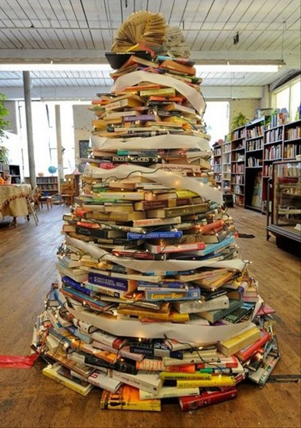 unique christmas trees | Unusual Christmas Trees- Book Pile Tree