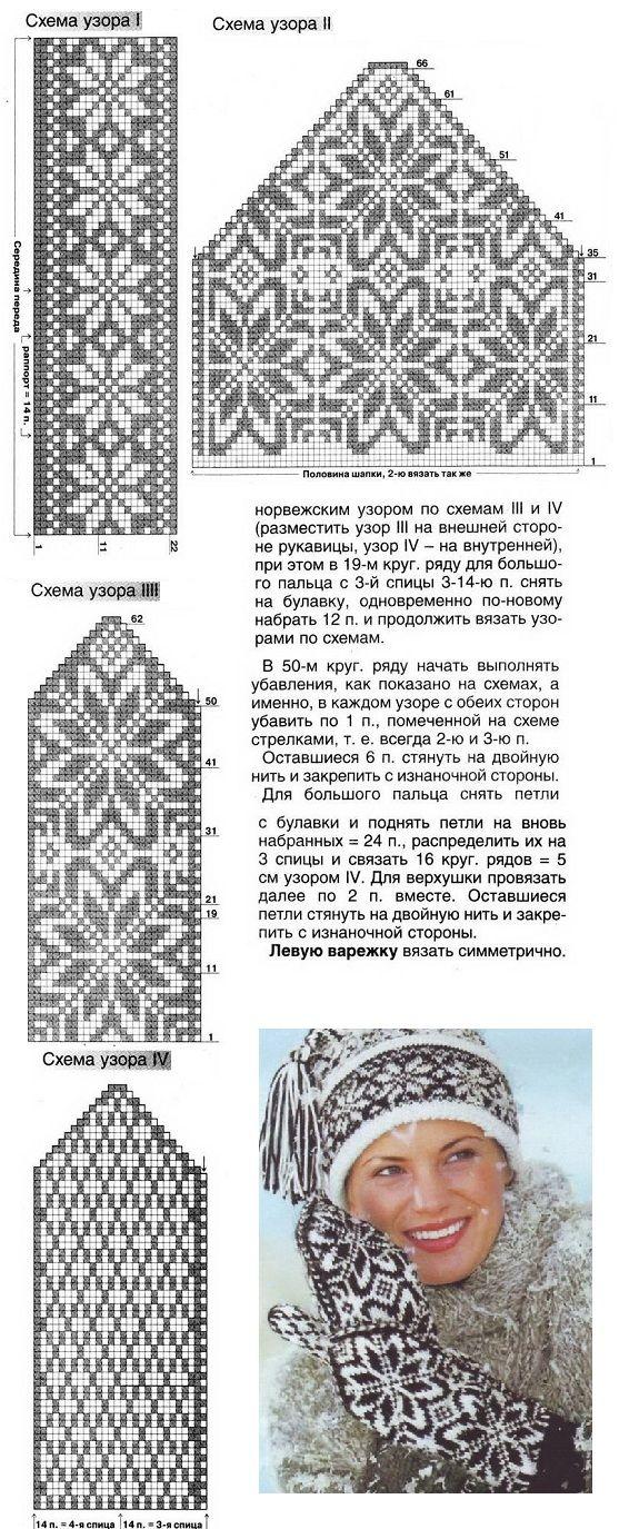 схема, подробное описание вязания шапочки и варежек с норвежским узором- hat and mittens colourwork chart - lue og votter strikking mønster
