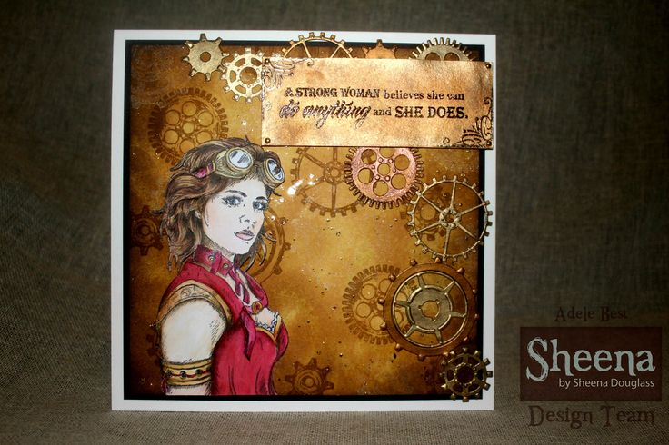 Sheena Douglass Time Traveller collection, Steampunk Woman stamp with Geared Up cog stamps and dies.