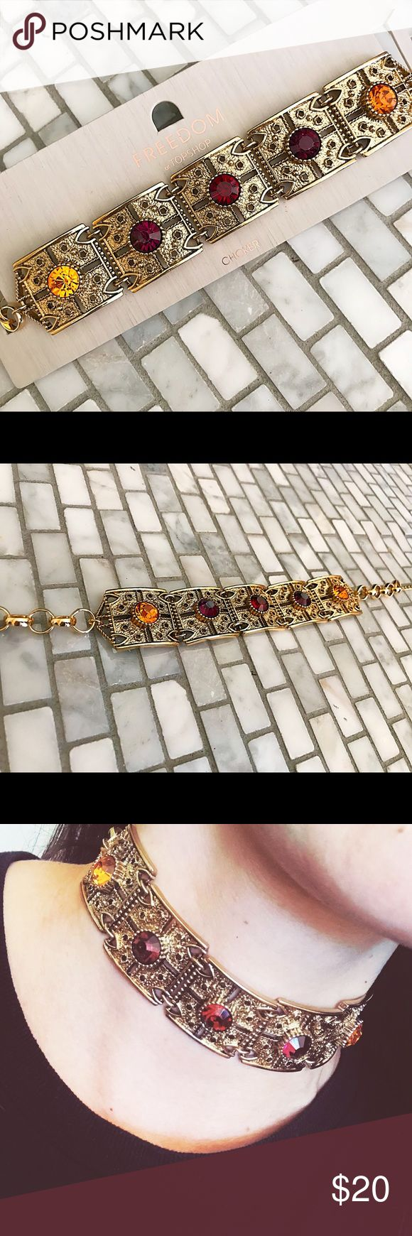 Metal Choker Top Shop gold metal choker, featuring square plated with encrusted beads. Length and width shown in pictures.             ❤️❤️❤️❤️❤️❤️❤️❤️❤️❤️❤️❤️❤️❤️❤️❤️❤️❤️❤️❤️boho choker, festival choker, boho jewelry, festival jewelry, fashion jewelry, Topshop Jewelry Necklaces