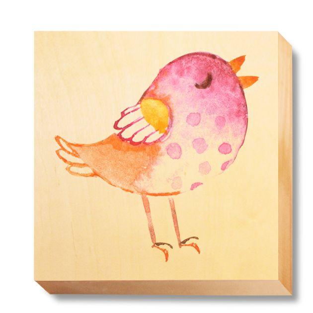 CHI 039 Children's Art - Watercolour Pink & Orange Bird