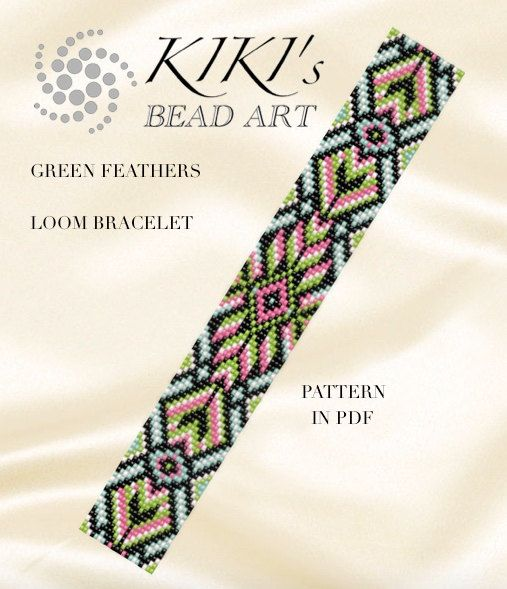 Bead loom pattern Green feathers ethnic inspired by KikisBeadArts