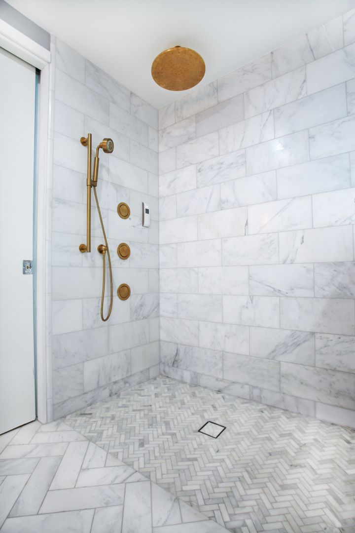 Amazing Shower With Venato Marble And Brass Fixtures Photo Sent