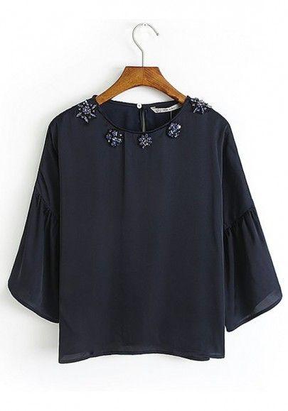 Navy Blue Plain Cap Sleeve Cotton Blend Blouse LOVE this!